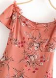 Off Shoulder Floral Short Dress