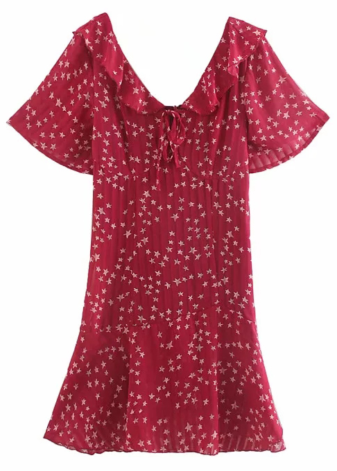 Short Sleeve Dress in Maroon Floral