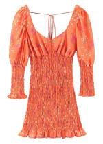 Smock Short Dress in Orange Floral