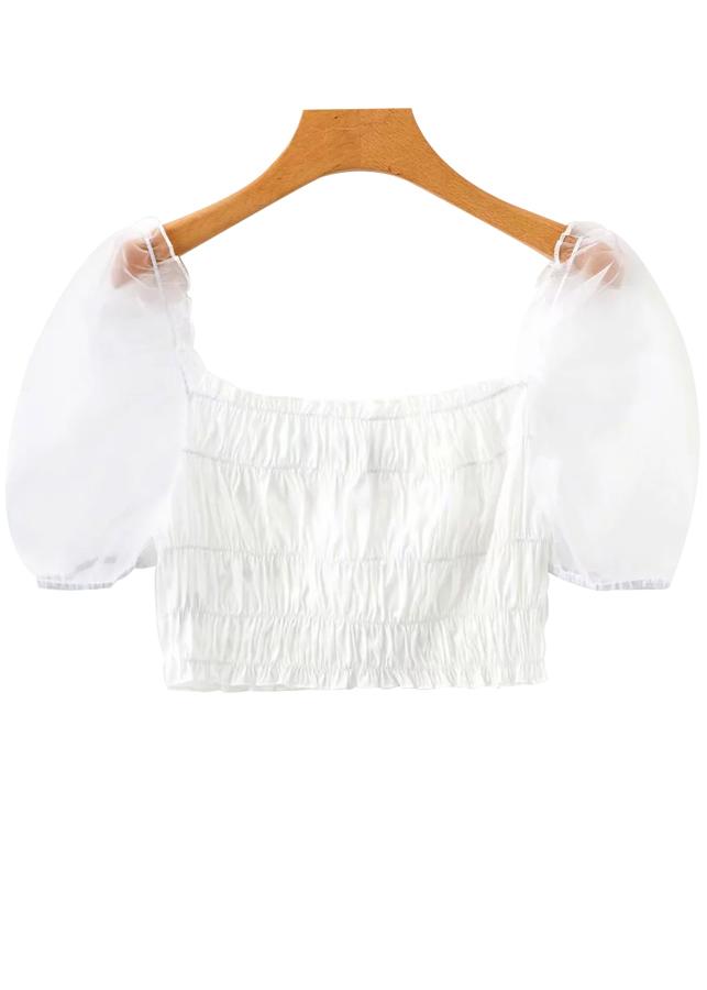 Sheer Mesh Puff Sleeves Crop Top in White