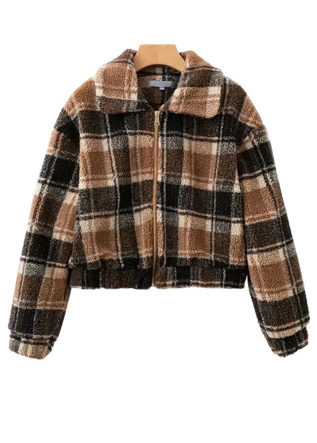 Zip Up Faux Fur Jacket