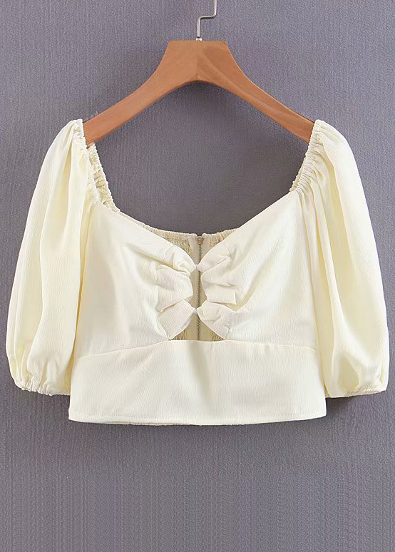 Crop Top in Pale Yellow