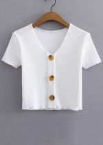 Button Front Crop Top ( in 4 Colors )