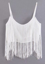 Fringed Top in White