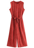 Belted Waist Jumpsuit in Red Dot