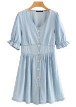 Button Front Denim Dress