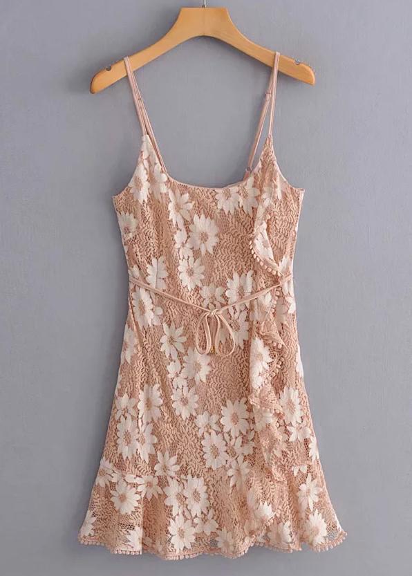 Lace Short Dress in Tan