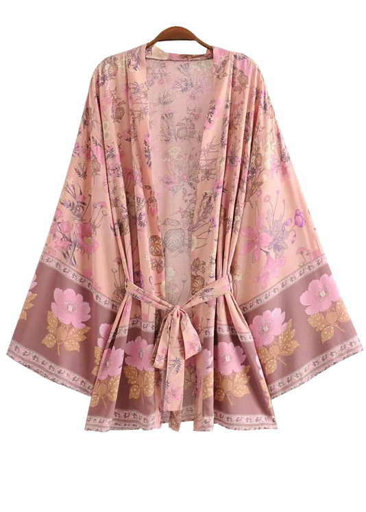 Belted Waist Floral Kimono ( in 3 Colors )