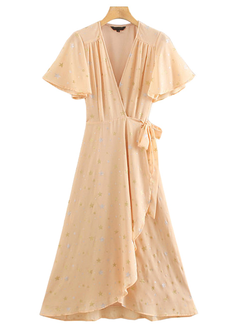 Gold Foil Detail Wrap Maxi Dress in Apricot