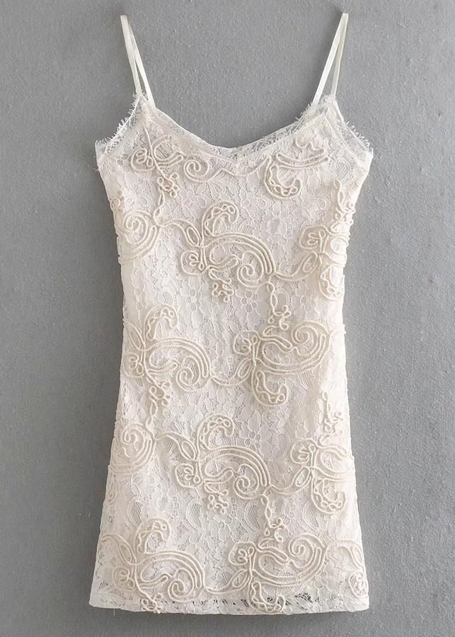 Embroidered Lace Bodycon Dress in Cream
