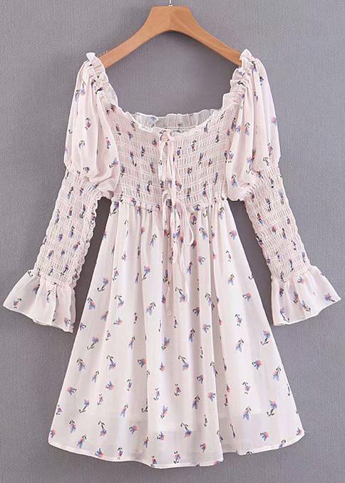 Smock Detail Short Dress in Blush Floral