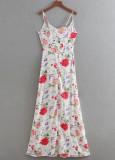 Long Skirt Draped Overlay Romper in White Floral