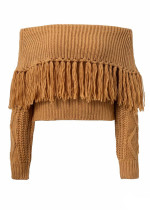 Fringed Off Shoulder Sweater