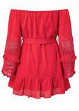Fringed Sleeves Off Shoulder Dress ( in 3 Colors )