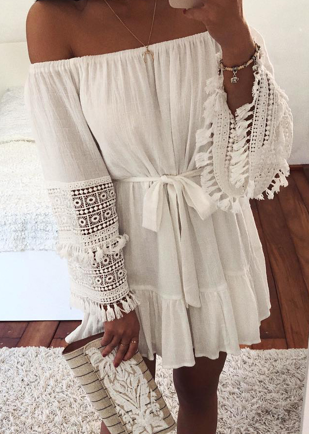Fringed Sleeves Off Shoulder Dress ( in 3 Colors )