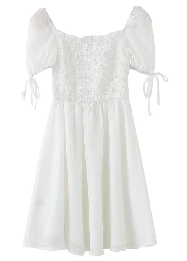 Smock Bodice Short Dress ( in 2 Colors )