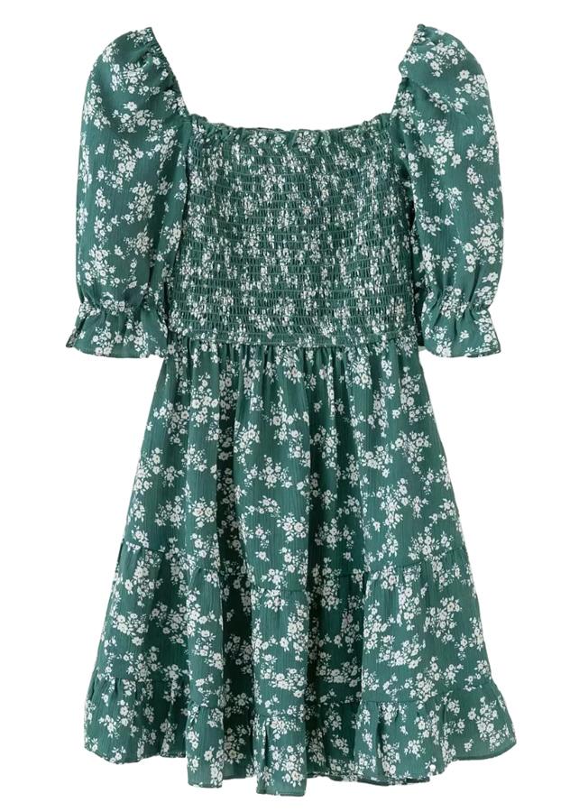 Smock Bodice Short Dress in Green Floral
