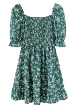 Smock Bodice Short Dress in Green Floral