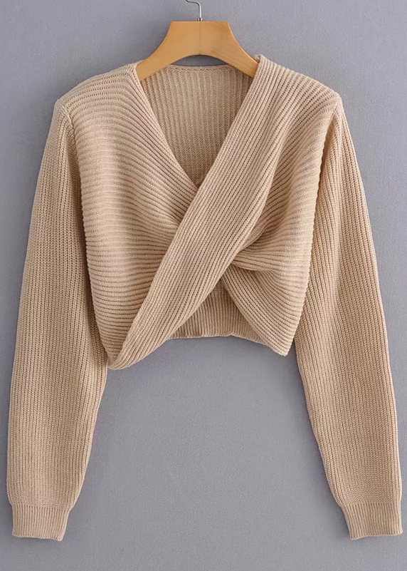 Twist Front Crop Sweater ( in 3 Colors )
