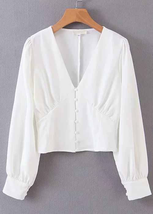 Long Sleeves Blouse in White