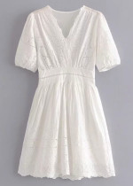 Embroidered Dress in White