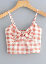 Knot Front Crop Top in Red Gingham
