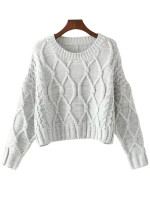 O-Neck Crop Sweater ( in 2 Colors )