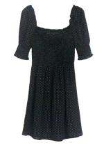 Short Sleeves Dress in Black Dot