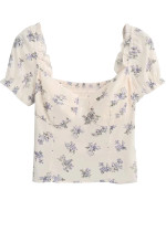 Short Sleeve Blouse in Cream Floral