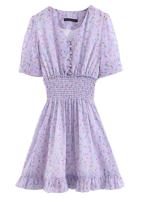 Short Dress in Mauve Floral