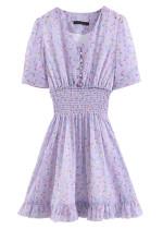 Short Dress in Mauve Floral