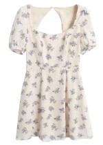 Open Back Dress in Cream Floral
