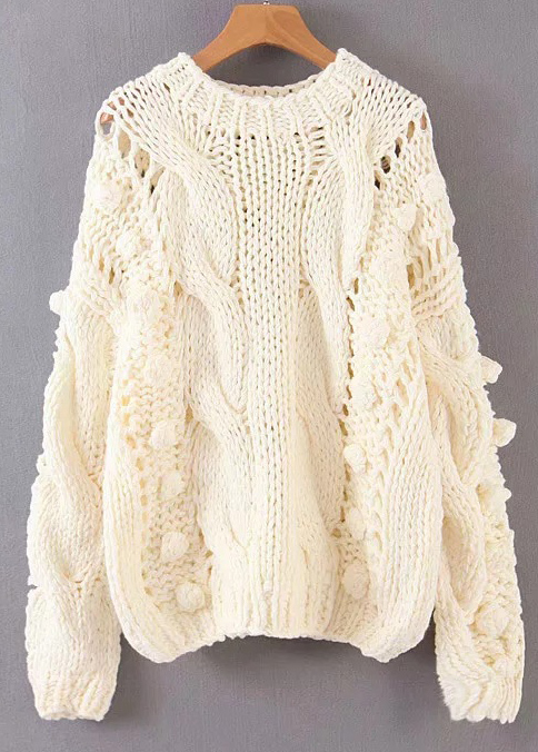 Pom Pom Detail Sweater ( in 3 Colors )