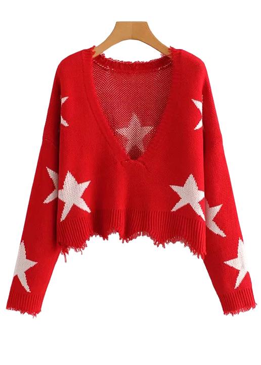 Fringe Detail Crop Sweater
