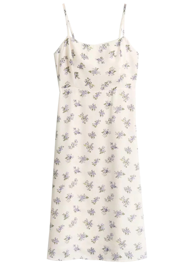 Slip Dress in Cream Floral