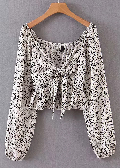 Tie Front Long Sleeves Blouse in Cream Spot