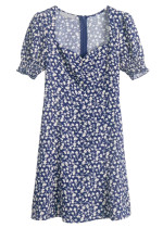 Short Sleeve Dress in Navy Floral