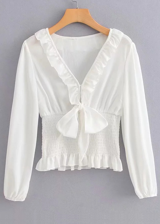 Knot Front Blouse in White