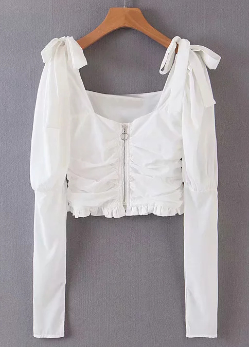 Shoulder Tie Detail Crop Blouse in White
