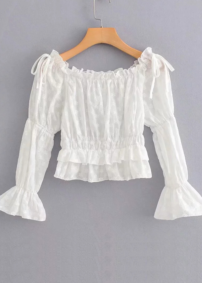 Off Shoulder Embroidered Blouse in White
