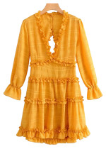 Open Back Frill Dress in Yellow