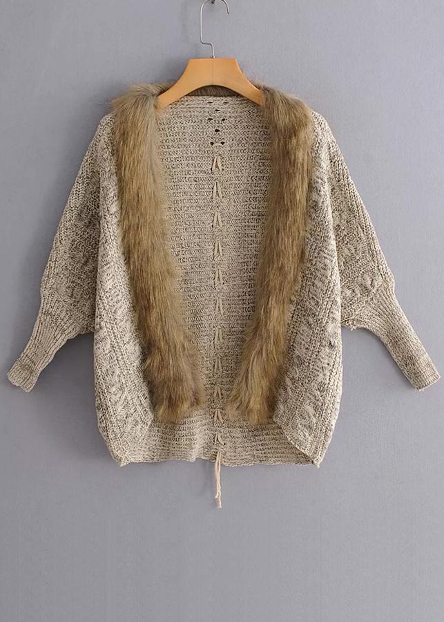 Faux Fur Detail Knit Cardigan ( in 2 Colors )