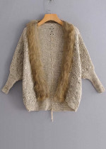 Faux Fur Detail Knit Cardigan ( in 2 Colors )