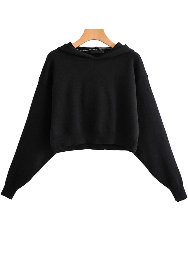 Crop Hoodie in Black