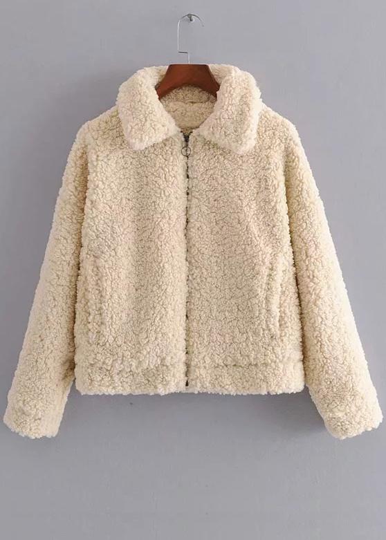 Faux Shearling Jacket in Cream