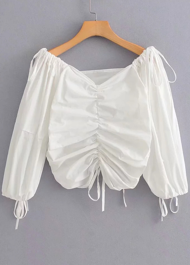Drawstring Detail Blouse ( in 2 Colors )