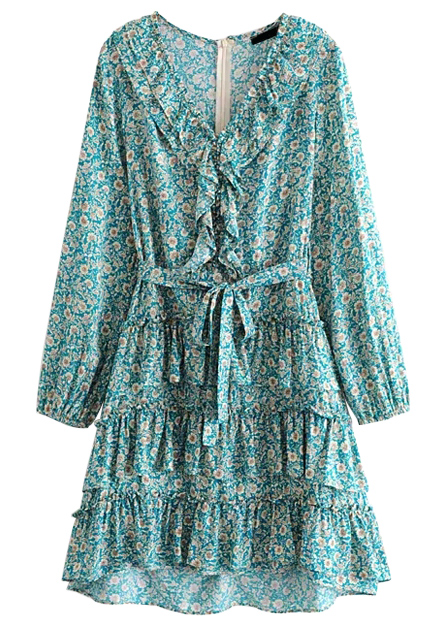 Flounce Detail Dress in Teal Floral