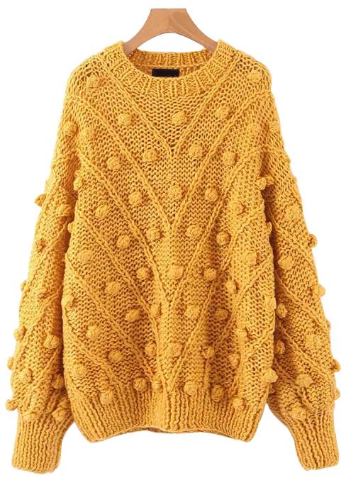 Pom Pom Pullover in Yellow
