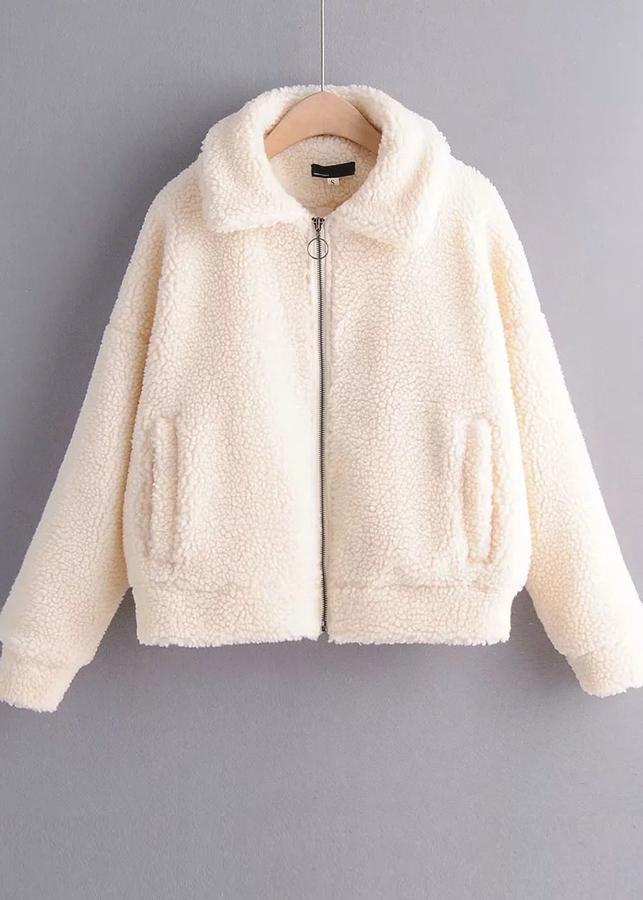 Faux Shearling Jacket in White
