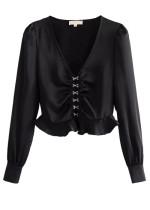Long Sleeves Crop Blouse in Black